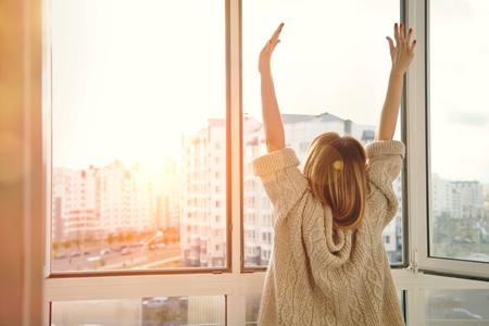 sunrise on an energy saving window